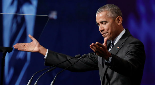 Former U.S. President Barack Obama gestures as he delivers his keynote speech to the Montreal Chamber of Commerce at the Palais de Congres in Montreal, Quebec, Canada.