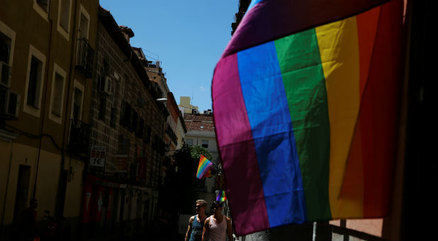 LGBT flags are displayed at Chueca quarter during World Pride in Madrid, Spain.