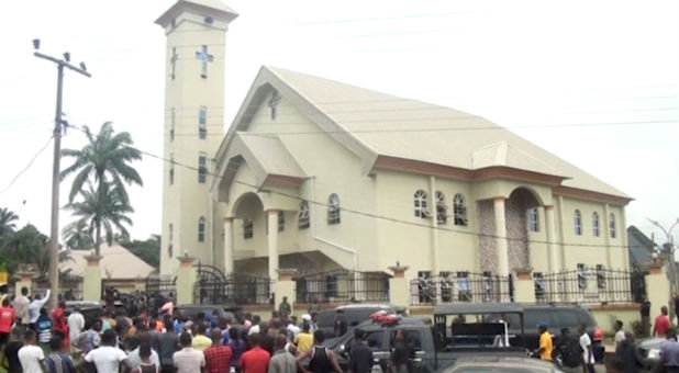 A still image taken from a video uploaded by CHANNELS TV on August 6, 2017, shows St. Philips Catholic Church in Anambra, Nigeria.