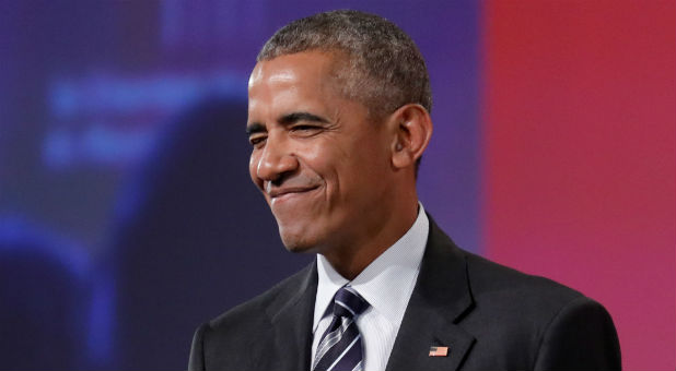 Former U.S. President Barack Obama winks after delivering his keynote speech to the Montreal Chamber of Commerce at the Palais de Congres in Montreal, Quebec, Canada.
