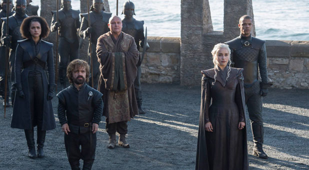 Nathalie Emmanuel as Missandei, Peter Dinklage as Tyrion Lannister, Conleth Hill as Varys, Emilia Clarke as Daenerys Targaryen and Jacob Anderson as Grey Worm.