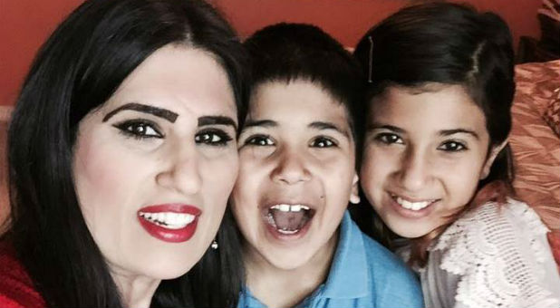 Naghmeh Panahi with her children.
