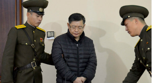 South Korea-born Canadian pastor Hyeon Soo Lim stands during his trial at a North Korean court in this undated photo released by North Korea's Korean Central News Agency (KCNA) in Pyongyang, North Korea on Dec. 16, 2015.
