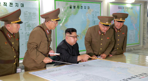 North Korean leader Kim Jong Un inspected the Command of the Strategic Force of the Korean People's Army (KPA) in an unknown location in North Korea in this undated photo released by North Korea's Korean Central News Agency (KCNA) on August 15, 2017.