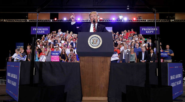 U.S. President Donald Trump speaks at a campaign rally in Phoenix, Arizona.