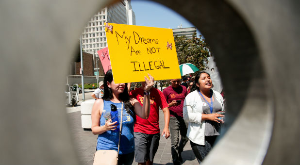 Protesters gather to show support for the Deferred Action for Childhood Arrivals.