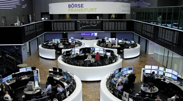 The German share price index, DAX board, is seen at the stock exchange.