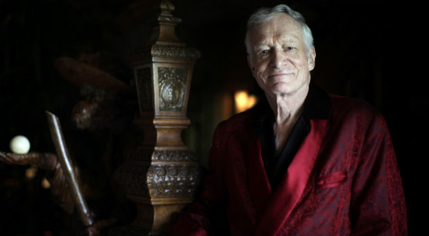 Hugh Hefner poses at his Playboy mansion in Los Angeles, July 2010.