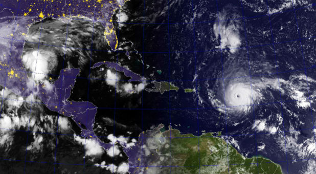 A satellite image of Hurricane Irma.