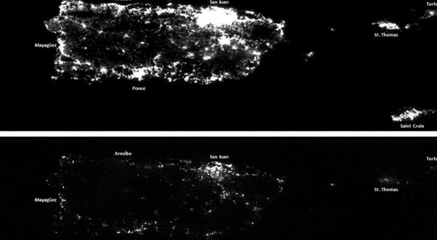 Puerto Rico's power grid before and after the hurricane.