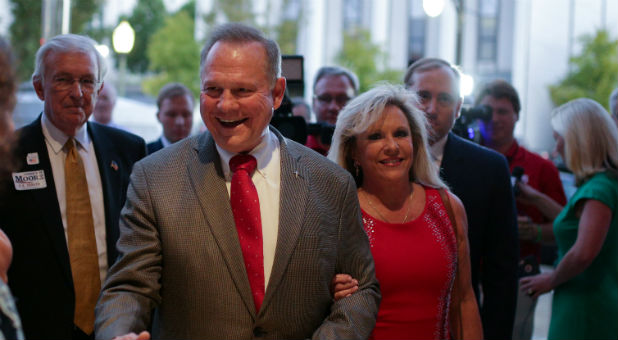 Roy Moore with his wife, Kayla.