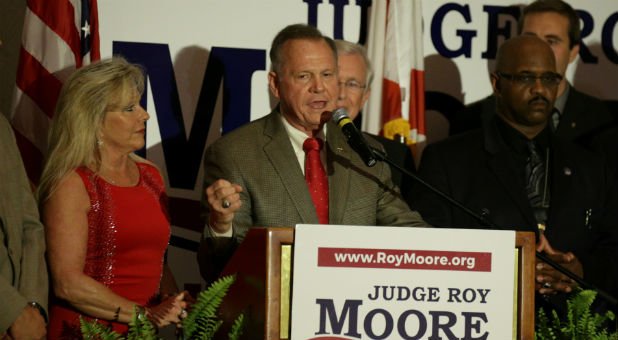 Republican candidate Roy Moore makes his victory speech after defeating incumbent Luther Strange.