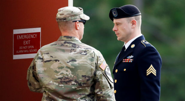 U.S. Army Sergeant Bowe Bergdahl (R) arrives at the courthouse.