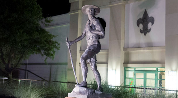 "A Boy Scout statue titled ""Trail to Manhood"" stands outside the National Scouting Museum in Irving, Texas."
