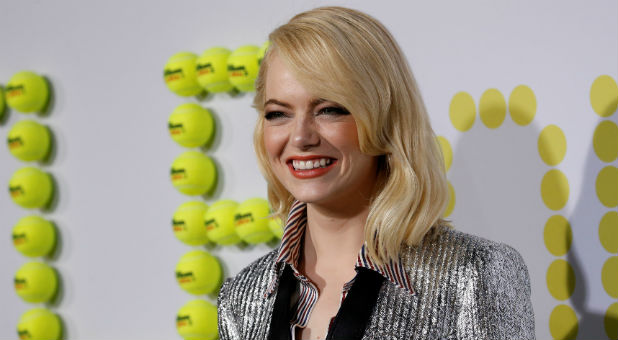 "Cast member Emma Stone poses at the premiere for ""Battle of the Sexes"" in Los Angeles."