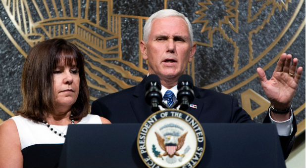 U.S. Vice President Mike Pence is joined by his wife, Karen.