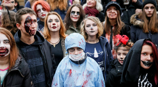 People participate in a 'Zombie Walk.'