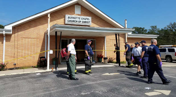 The scene where people were injured when gunfire erupted at the Burnette Chapel Church of Christ, in Nashville, Tennessee, Sept. 24, 2017.