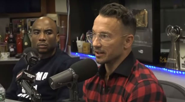 "Hillsong NYC Pastor Carl Lentz, right, on ""The Breakfast Club."""