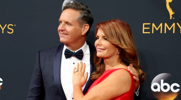 Roma Downey, right, with her husband, Mark Burnett.