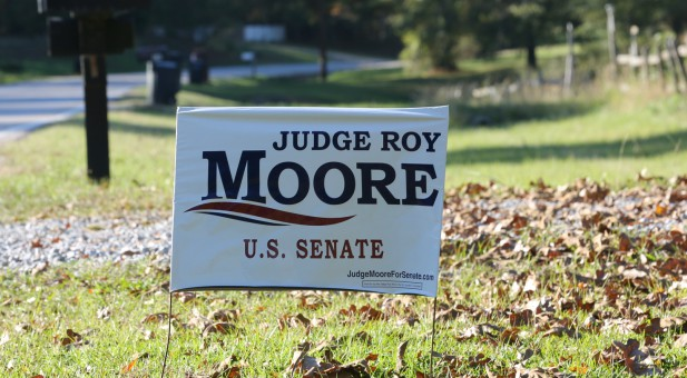 A sign supporting Roy Moore for Senate.