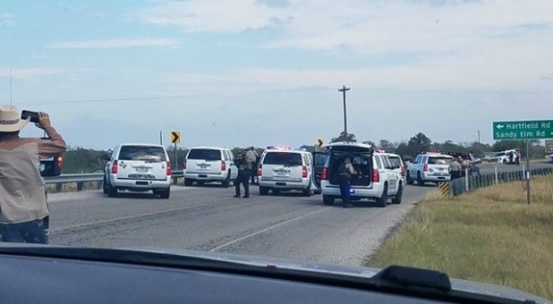 Police cars are seen at Sutherland Springs, Texas.