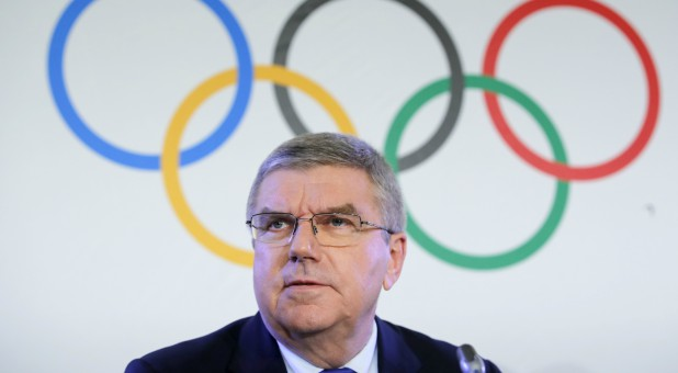 Thomas Bach, President of the International Olympic Committee, attends a news conference after an Executive Board meeting on sanctions for Russian athletes.
