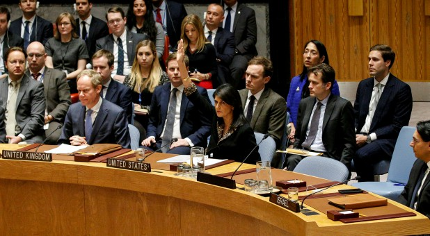 U.S. Ambassador to the United Nations Nikki Haley vetoes an Egyptian-drafted resolution regarding recent decisions concerning the status of Jerusalem,