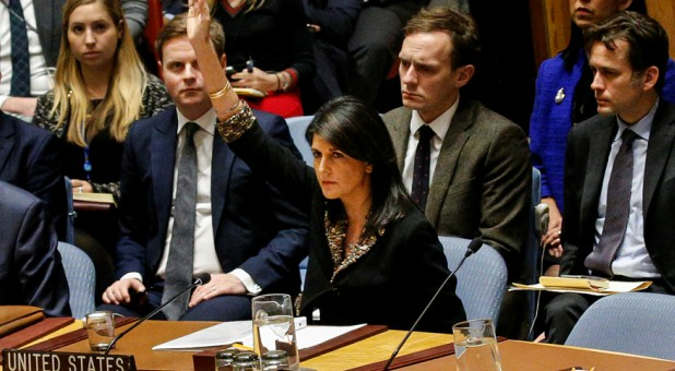 U.S. Ambassador to the United Nations Nikki Haley vetoes an Egyptian-drafted resolution regarding recent decisions concerning the status of Jerusalem.
