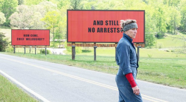 "Actress Frances McDormand in a scene from ""Three Billboards Outside Ebbing, Missouri."""