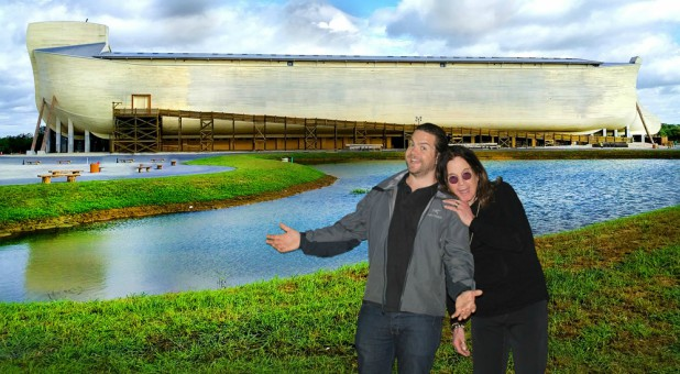 Ozzy Osbourne, right, with his son, Jack, at the Ark Encounter.