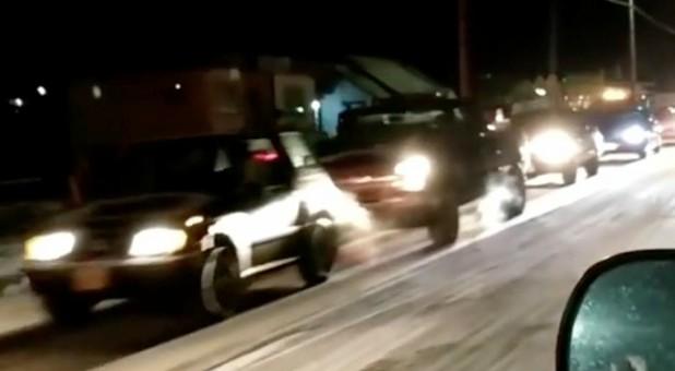 Vehicles are seen during a tsunami warning evacuation in Kodiak, Alaska.