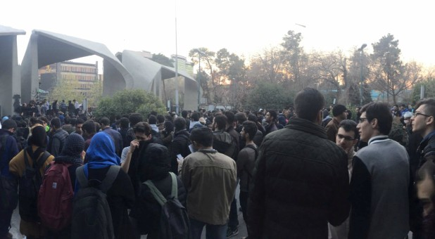 People protest near the university of Tehran, Iran December 30, 2017.