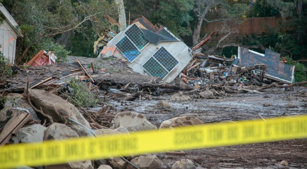 Damaged properties are seen after a mudslide in Montecito, California.