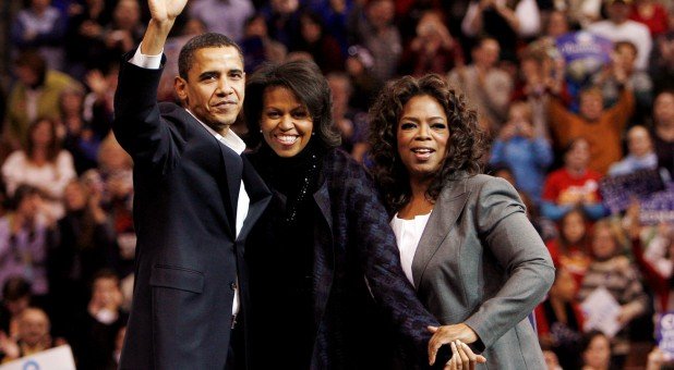 Oprah, far right, with the Obamas in 2007.