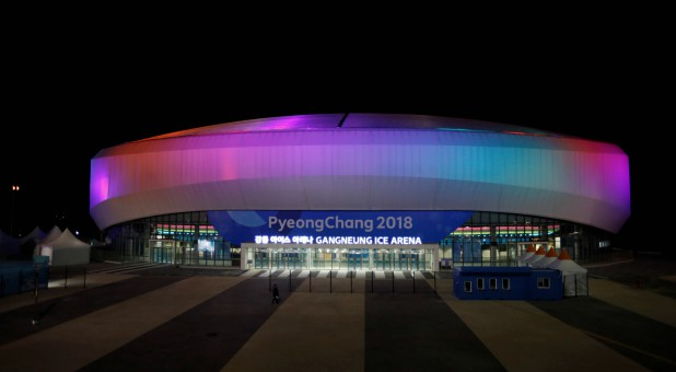 Gangneung Ice Arena is illuminated in Gangneung, South Korea.