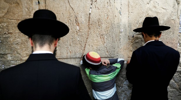 Religious Jews attend a special prayer for rain at the Western Wall in Jerusalem's Old City.