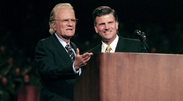 Billy Graham with his son Franklin.