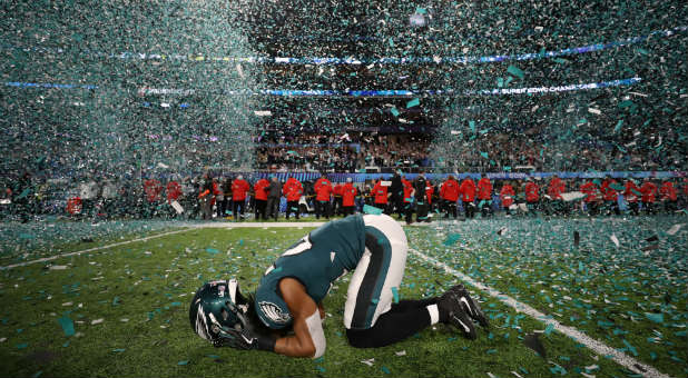 Philadelphia Eagles' Patrick Robinson celebrates winning Super Bowl LII.