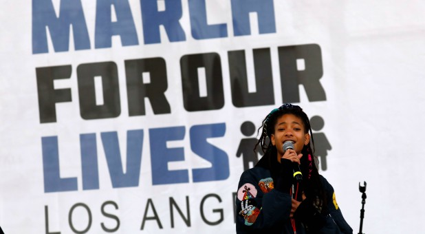 "Singer Willow Smith speaks during ""March for Our Lives."""