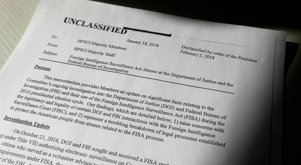 A copy of the formerly top-secret classified memo written by House Intelligence Committee Republican staff and declassified for release by U.S. President Donald Trump is seen shortly after it was released by the committee.
