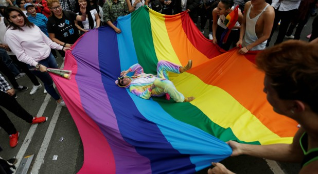Members of the LGBT community carry a rainbow flag.