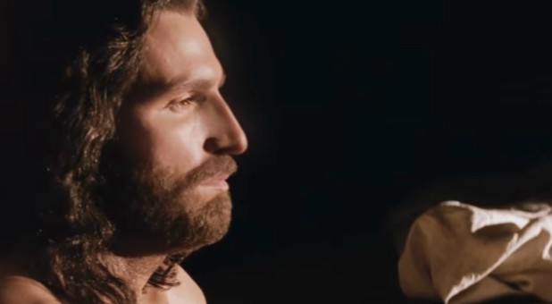 "Jesus, as portrayed by Jim Caviezel, in ""Passion of the Christ"""