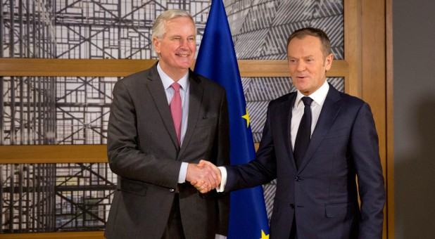 European Council President Donald Tusk (R) meets with European Union's chief Brexit negotiator Michel Barnier at the EU Council headquarters in Brussels, Belgium.