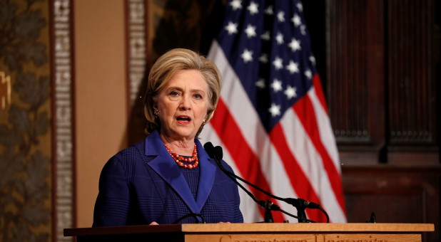 Former Secretary of State Hillary Clinton speaks at the annual Hillary Rodham Clinton awards ceremony at Georgetown University.