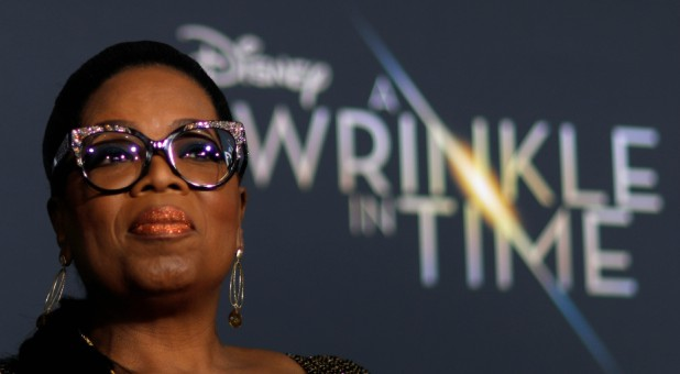 "Cast member Oprah Winfrey poses at the premiere of ""A Wrinkle in Time"" in Los Angeles."
