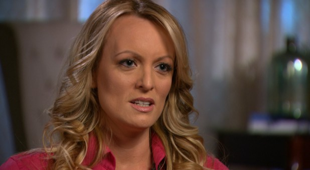 "Stormy Daniels, an adult film star and director whose real name is Stephanie Clifford is interviewed by Anderson Cooper of CBS News' ""60 Minutes"" program in early March 2018."