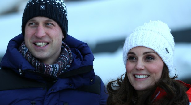 Britain's Prince William and Catherine, the Duchess of Cambridge, pose for photographers at the Holmenkollen Ski Jump in Oslo, Norway.
