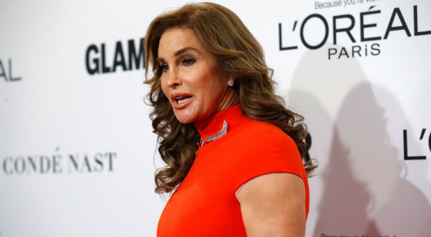 Caitlyn Jenner poses at the Glamour Women of the Year Awards in Los Angeles.