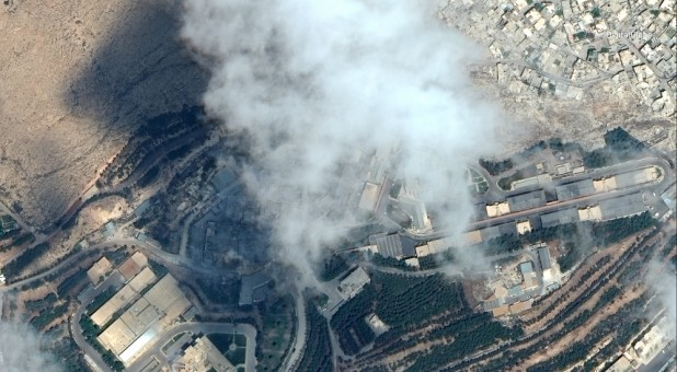 A satellite image shows the Barzah Research and Development Center after being struck by U.S. and coalition operations in Damascus, Syria, April 14, 2018.